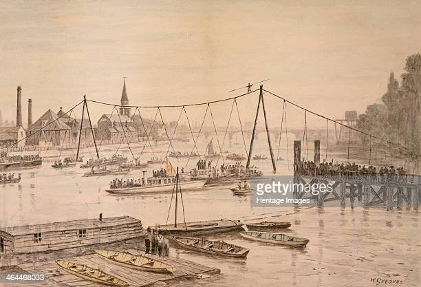 Charles Blondin crossing the Thames on a tightrope, London, before 1897. Blodin was a famous French acrobat.