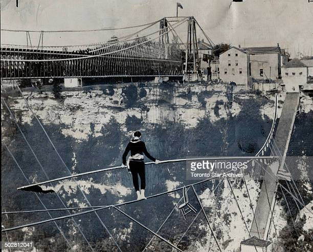 Charles Blondin first made the aerial trip across the Niagara gorge in 185 and thousands watched spectacular stunt shown here He even stopped in the...