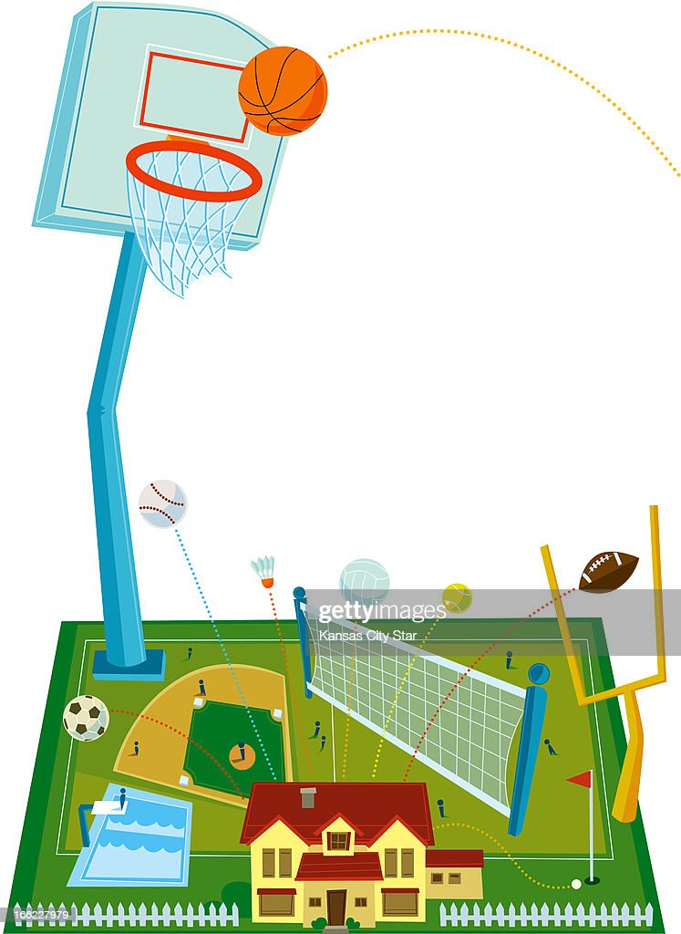 Charles Bloom Color Illustration Of Home With Backyard Sports Courts And  Fields Areas For Basketball,