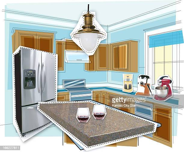 Charles Bloom color illustration of kitchen with cutouts of new refrigerator light fixture appliances countertop and glasses