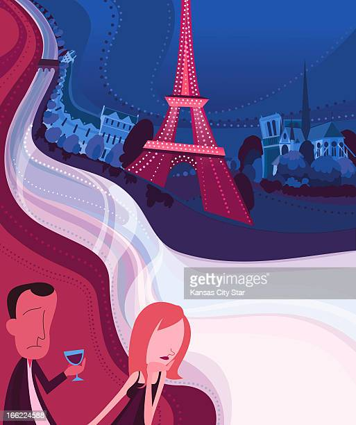 Charles Bloom illustration of a couple on a French cruise with various attractions in the background the Seine River the Louvre the Eiffel Tower...