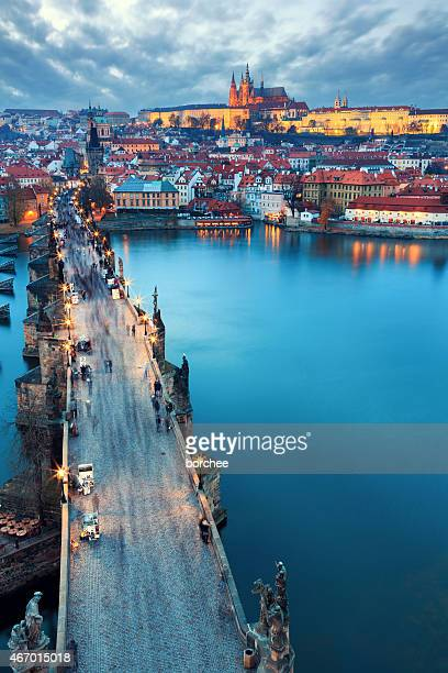 charles bridge and hradcany - charles bridge stock photos and pictures