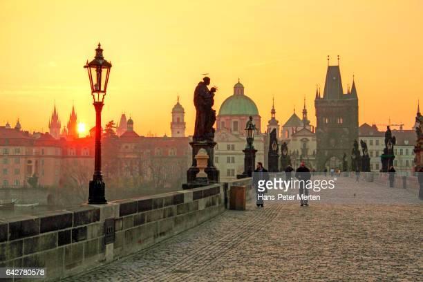 Charles Bridge and Old Town Bridge Tower in Prague, Central Bohemia, Czech Republic