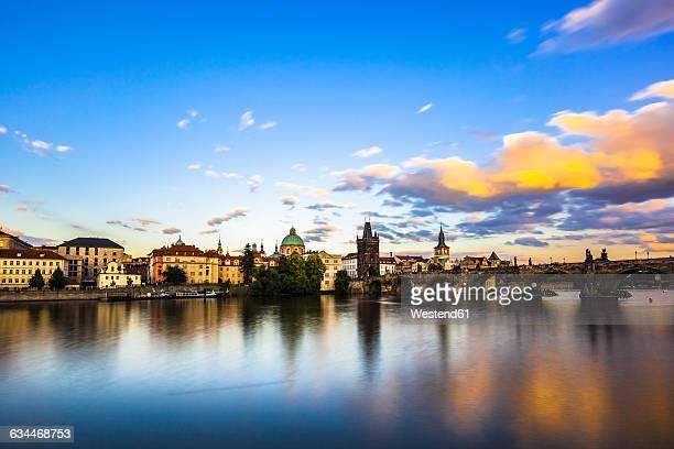 Charles Bridge and Vltava River in Prague in summer