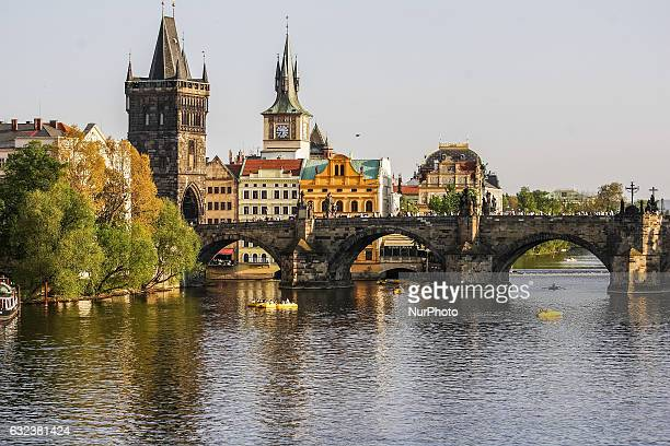 Charles bridge at the Vltava river is seen on 1 May 2012 in Prague Czech Republic capital