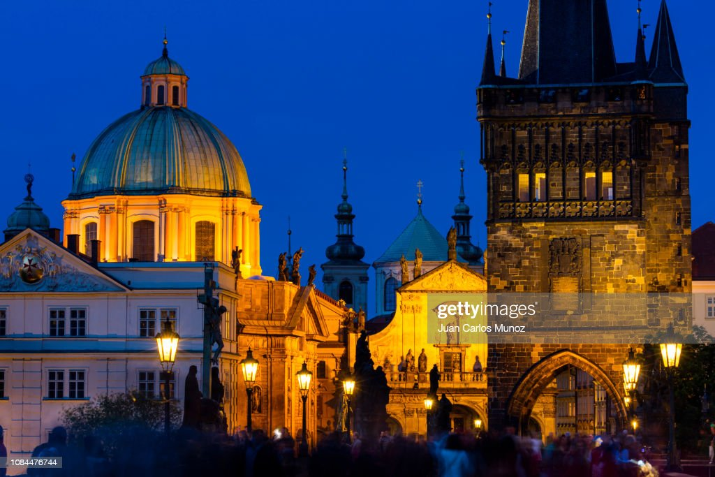 Charles Bridge, Church of St. Francis of Assisi, Klementinum, Church of St. Salvatore, Prague, Czech Republic, Europe : ストックフォト