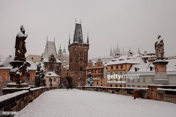 Charles Bridge covered in snow, Prague, Czech Republic