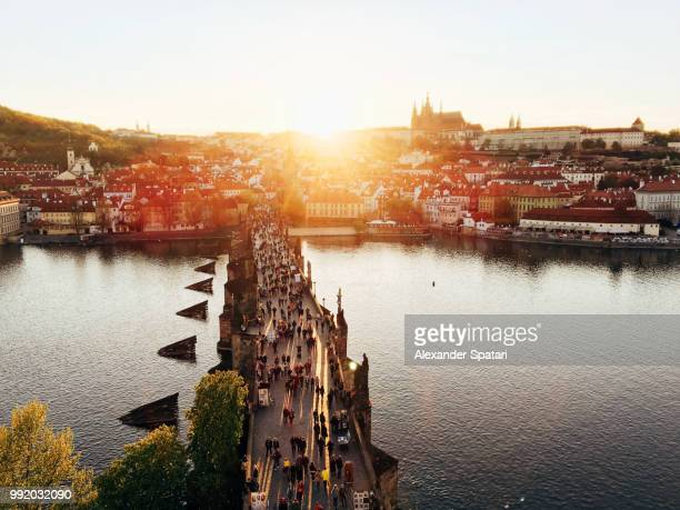 Charles Bridge during sunset aerial view, Prague, Czech Republic