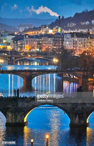 Charles Bridge, Prague bridges on Vltava River at night, dusk, sunset
