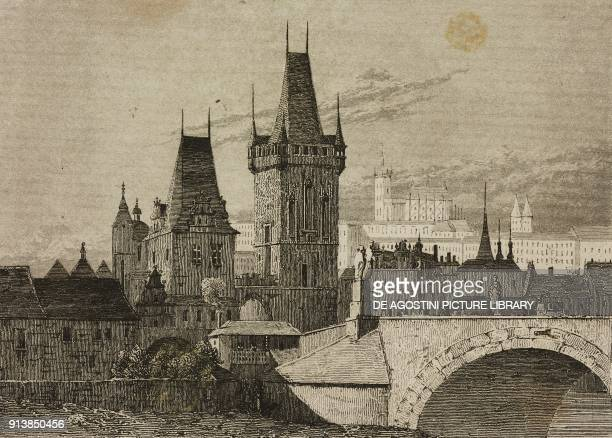 Charles Bridge, Prague, Czech Republic, engraving by Lemaitre from Etats de la Confederation Germanique, by Le Bas, L'Univers pittoresque, published...
