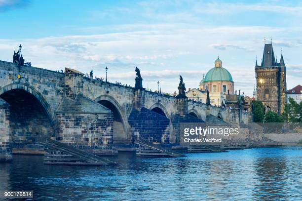 charles bridge, prague, czech republic - charles bridge stock photos and pictures