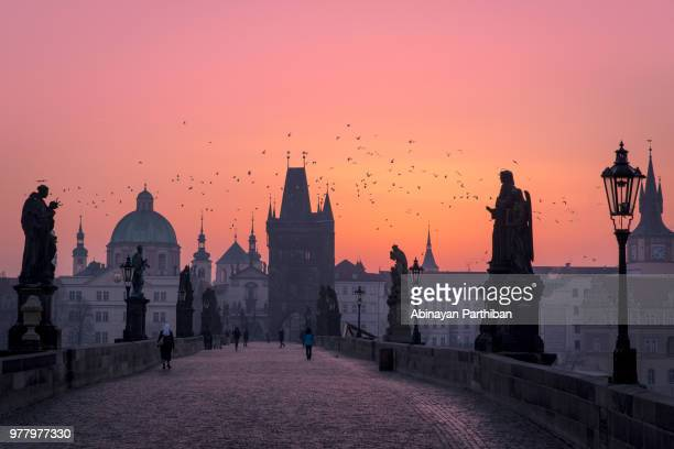 charles bridge, prague, czech republic. - prag stock-fotos und bilder
