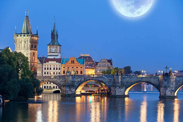 Charles Bridge Prague Czech Republic With Moon At Night Wall Art