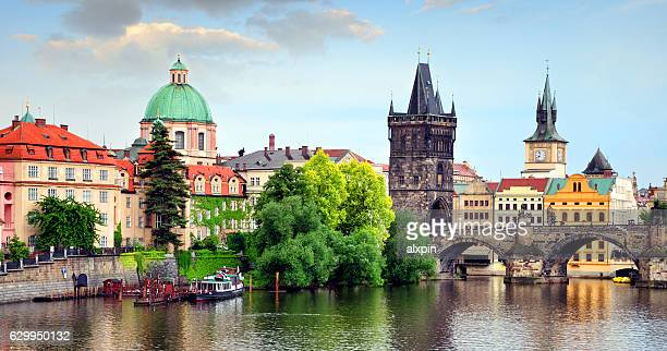 charles bridge, prague - charles bridge stock photos and pictures