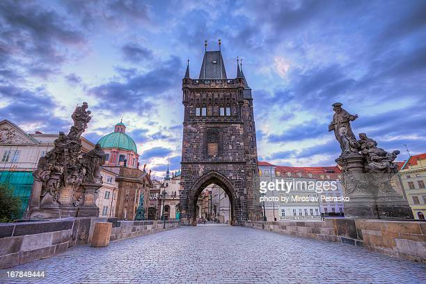 charles bridge tower - charles bridge stock photos and pictures