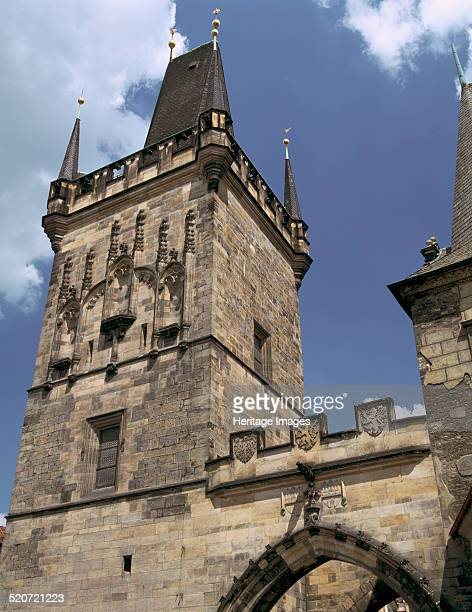 Charles Bridge Tower, Prague, Czech Republic. View of the tower at the Mala Strana end of the bridge. The building of the Charles Bridge over the...