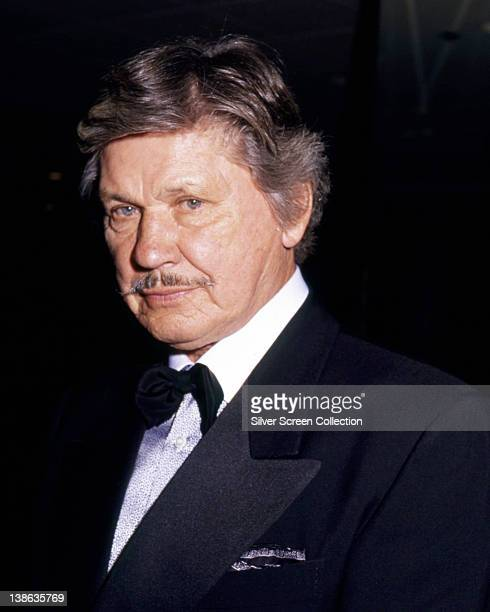 Charles Bronson US actor wearing a dinner jacket and bow tie circa 1985