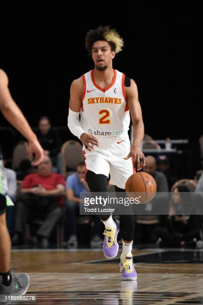 Charles Brown Jr #2 of the College Park Skyhawks dribbles up court against the Iowa Wolves on December 21 2019 at the Mandalay Bay Events Center in...