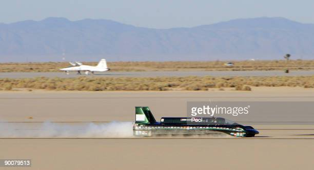 Charles Burnett III drives The British Steam Car at Rogers Dry Lake on his breaking the land speed record for a steam powered car on August 25 2009...
