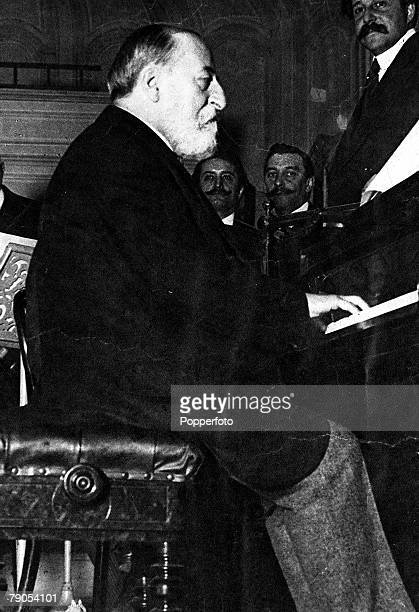 Charles Camille SaintSaens French composer and music critic 18351921playing own composition at concert in Salle GaveauParis
