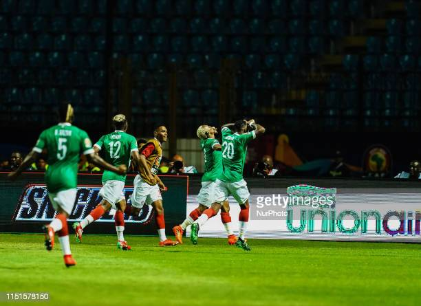 Charles Carolus Andriamahitsinoro of Madagascar celebrating scoring to 2-1 for Madagascar during the African Cup of Nations match between Guinea and...