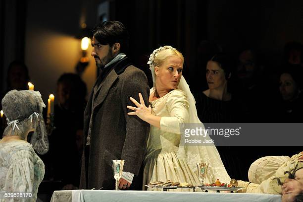 Charles Castronovo as Edgardo and Diana Damrau as Lucia with artists of the company in the Royal Opera's production of Gaetano Donizetti's 'Lucia Di...
