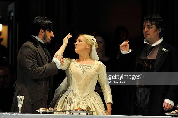 Charles Castronovo as Edgardo Diana Damrau as Lucia and Ludovic Tezier as Enrico Ashton in the Royal Opera's production of Gaetano Donizetti's 'Lucia...