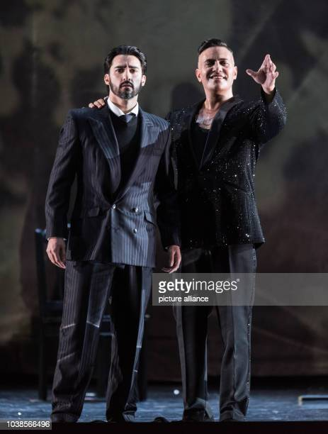 Charles Castronovo as Faust and Erwin Schrott as Mefistofele rehearse the opera 'Mefistofele' at the festival theater in BadenBadenGermany 09 May...