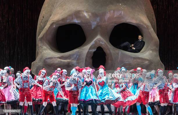 Charles Castronovo as Faust and singers rehearse the opera 'Mefistofele' at the festival theater in BadenBadenGermany 09 May 2016 The opera by...