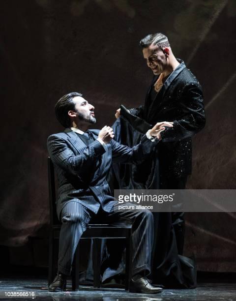 Charles Castronovo as Faust Erwin Schrott as Mefistofele rehearse the opera 'Mefistofele' at the festival theater in BadenBadenGermany 09 May 2016...