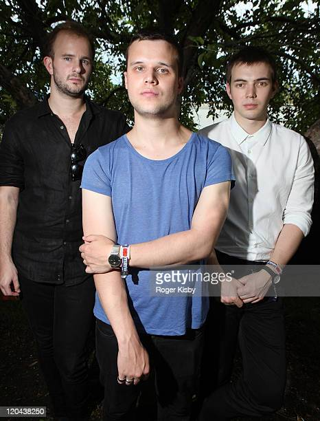 Charles Cave Harry McVeigh and Jack LawrenceBrown of The White Lies pose during 2011 Lollapalooza at Grant Park on August 5 2011 in Chicago Illinois