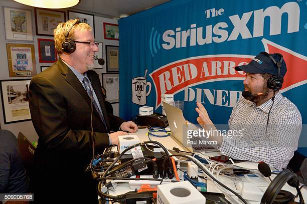 Charles Chamberlain of Democracy for America is interviewed by host Ari RabinHavt at SiriusXM Red Diner Broadcasts from New Hampshire Primary...