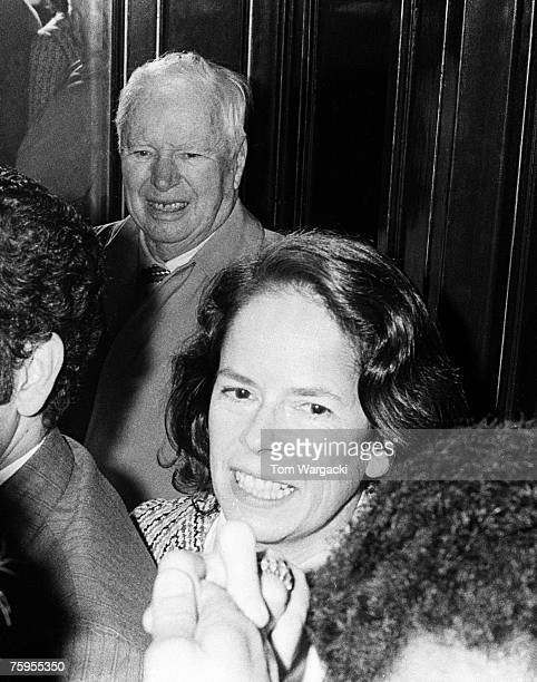 Charles Chaplin and wife Oona O'Neill Chaplin on March 27 outside The Plaza Hotel in New York City