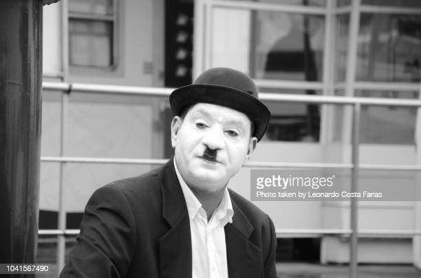 charles chaplin look-alike - leonardo costa farias stock photos and pictures