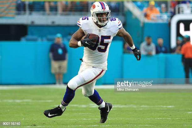 Charles Clay of the Buffalo Bill during the first quarter against the Miami Dolphins at Hard Rock Stadium on December 31 2017 in Miami Gardens Florida