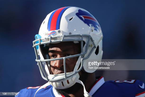 Charles Clay of the Buffalo Bills as he warms up before the start of NFL game action against the New York Jets at New Era Field on December 9 2018 in...