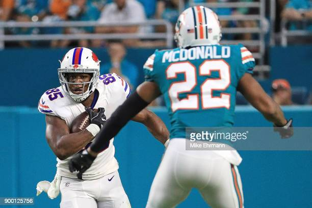 Charles Clay of the Buffalo Bills carries the ball during the second quarter against the Miami Dolphins at Hard Rock Stadium on December 31 2017 in...