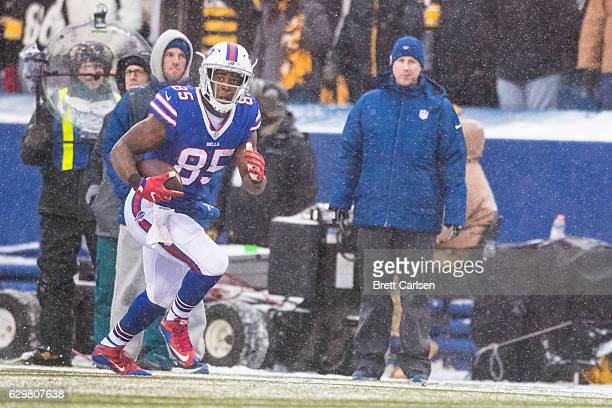 Charles Clay of the Buffalo Bills carries the ball for a touchdown during the fourth quarter against the Pittsburgh Steelers on December 11 2016 at...