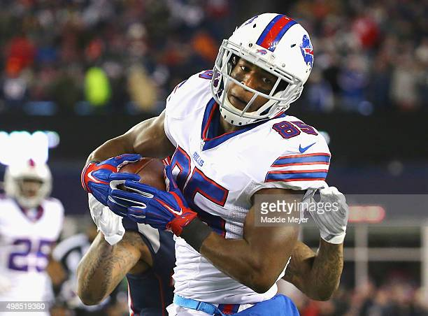 Charles Clay of the Buffalo Bills catches a pass during the third quarter against the New England Patriots at Gillette Stadium on November 23 2015 in...