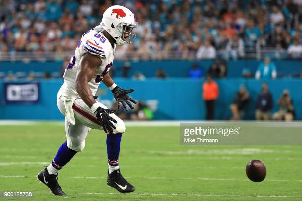 Charles Clay of the Buffalo Bills couldnt make the catch during the second quarter against the Miami Dolphins at Hard Rock Stadium on December 31...