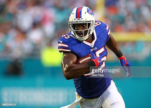 Charles Clay of the Buffalo Bills in action during the first half of the game against the Miami Dolphinsat Sun Life Stadium on September 27 2015 in...