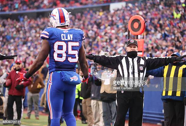 Charles Clay of the Buffalo Bills looks for pass interference call against the Miami Dolphins during the second half at New Era Stadium on December...