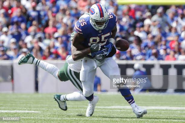 Charles Clay of the Buffalo Bills loses the ball defended by Jamal Adams of the New York Jets during the first half on September 10 2017 at New Era...