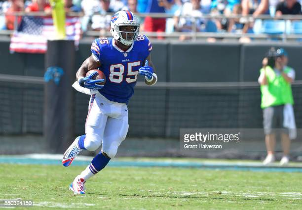 Charles Clay of the Buffalo Bills makes a catch against the Carolina Panthers during their game at Bank of America Stadium on September 17 2017 in...