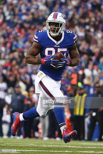 Charles Clay of the Buffalo Bills makes a touchdown catch against the Houston Texans during the second half at Ralph Wilson Stadium on December 6...