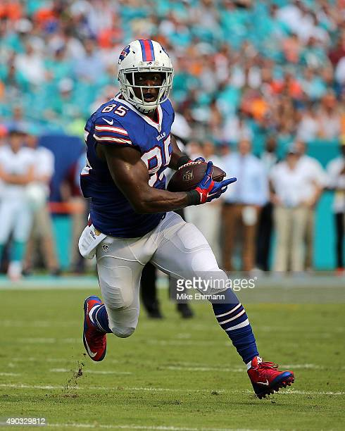 Charles Clay of the Buffalo Bills scores a touchdown during a game against the Miami Dolphins at Sun Life Stadium on September 27 2015 in Miami...