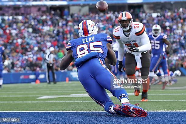 Charles Clay of the Buffalo Bills scores a touchdown in the first half against the Cleveland Browns at New Era Field on December 18, 2016 in Orchard...