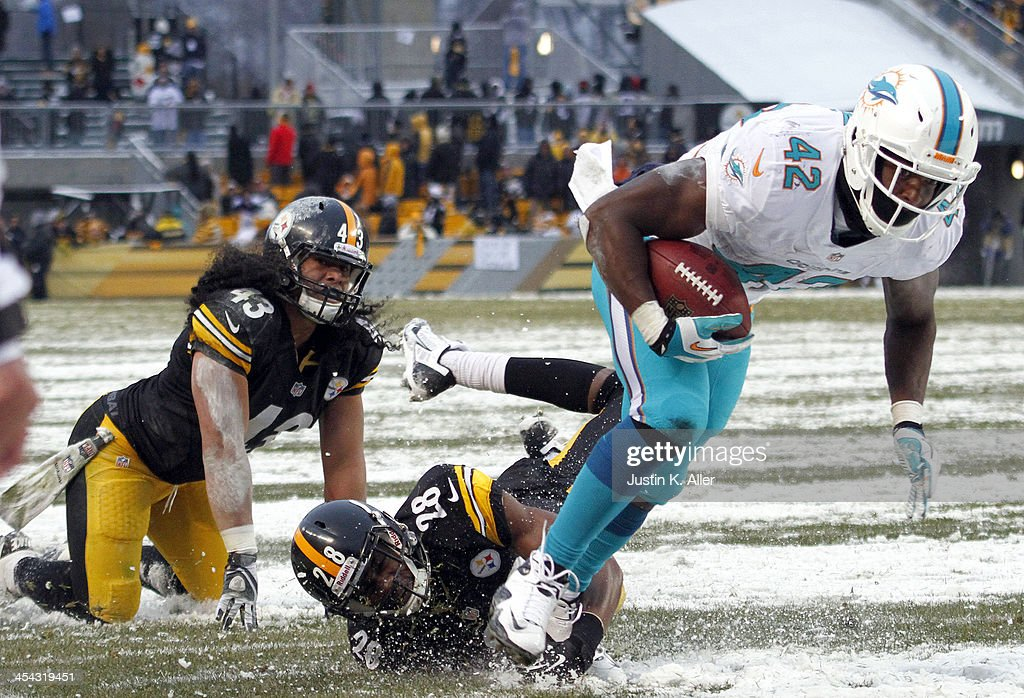 Charles Clay #42 of the Miami Dolphins breaks a tackle against Troy Polamalu #43 and Cortez Allen #28 of the Pittsburgh Steelers to score a 12 yard touchdown during the game on December 8, 2013 at Heinz Field in Pittsburgh, Pennsylvania.