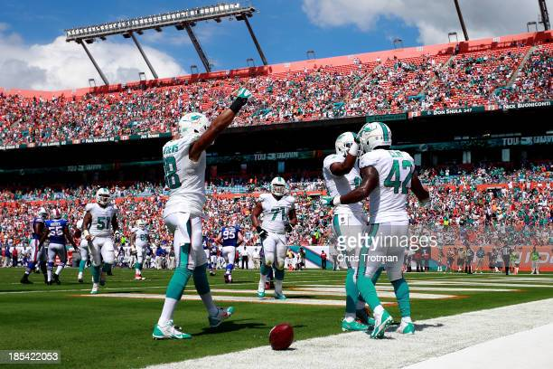 Charles Clay of the Miami Dolphins is congratulated on his touchdown by his teammates Rishard Matthews of the Miami Dolphins and Brandon Gibson of...