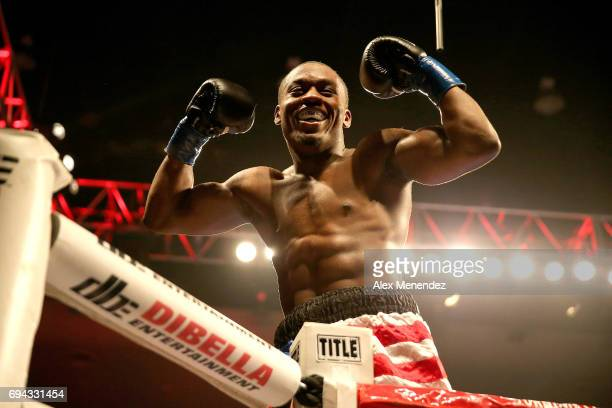 Charles Conwell smiles after he knocks out Jeffrey Wright during a ShoBox boxing match at the Turning Stone Resort Casino on June 9 2017 in Verona...